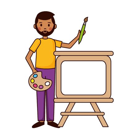 teacher man artistic board and palette teachers day vector illustration Ilustração