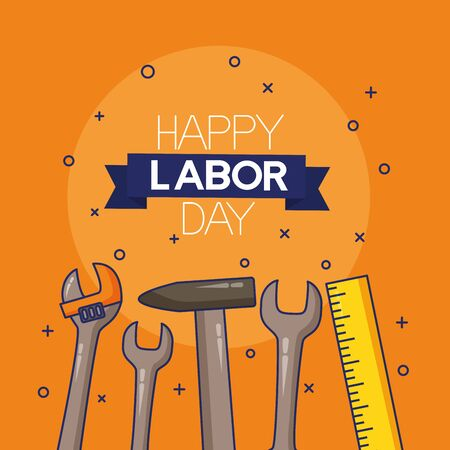 hammer wrench measure happy labour day vector illustration