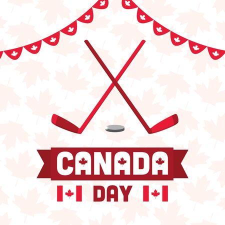 hockey stick and puck happy canada day vector illustration Illusztráció
