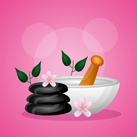 stones bowl flowers spa treatment therapy vector illustration
