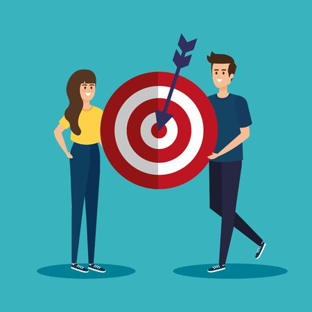 woman and man with target business information to teamwork strategy vector illustration