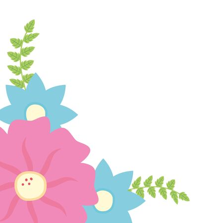 flowers branch leaves border decoration vector illustration Çizim