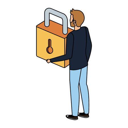 man lifting safe secure padlock vector illustration design