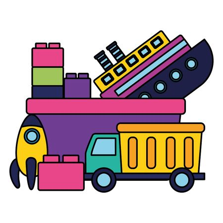 kids toys truck boat rocket blocks bucket vector illustration Illustration
