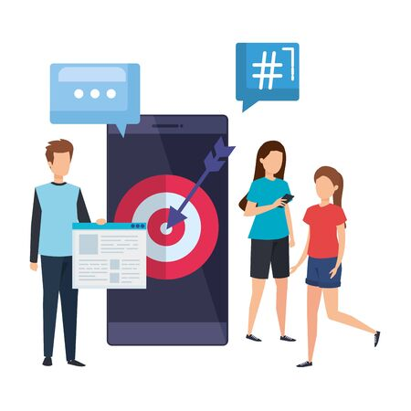 young people with smartphone and target vector illustration design Çizim
