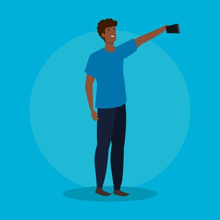 boy with hairstyle design and smartphone selfie over blue background, vector illustration