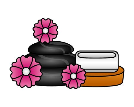 stones and soap flowers spa treatment therapy vector illustration Zdjęcie Seryjne - 129813634