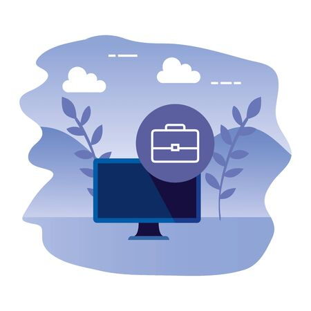 desktop computer device with portfolio vector illustration design Ilustrace