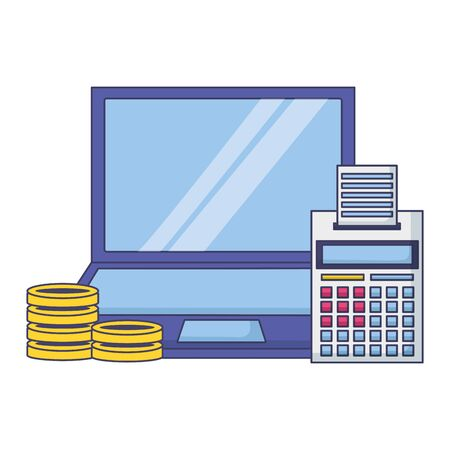 laptop calculator coins money tax payment vector illustration