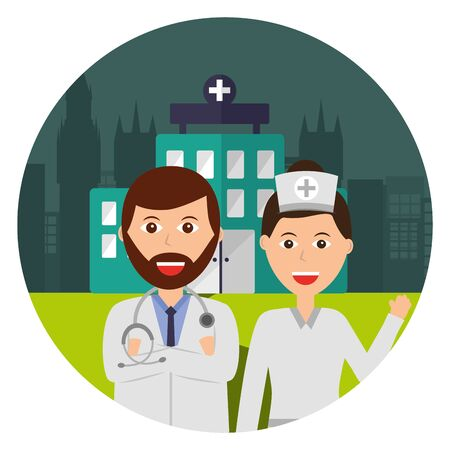doctors staff medicine clinic urban vector illustration
