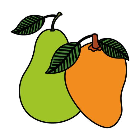 fresh mango and pear fruits nature vector illustration design Illustration