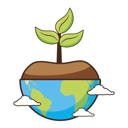 planet with plant earth day card vector illustration Çizim