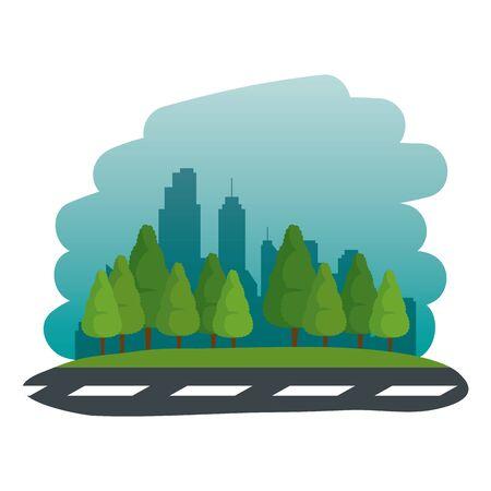 road street urban scene icon vector illustration design