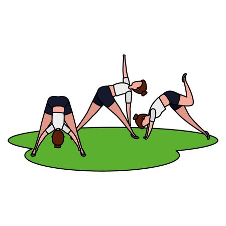 beauty girls group practicing pilates in the grass vector illustration design
