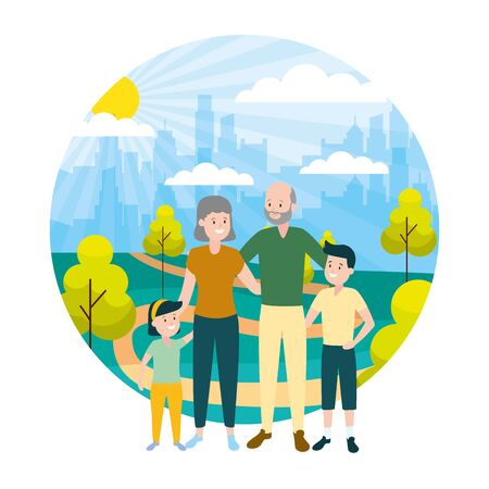 grandparents and grandkids family outdoors vector illustration