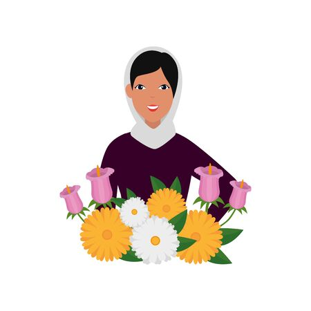 islamic woman with traditional burka and garden flowers vector illustration design
