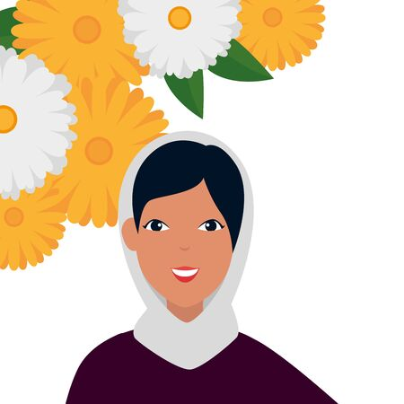 islamic woman with traditional burka and flowers frame vector illustration design