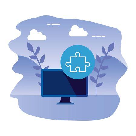 desktop computer device with puzzle piece vector illustration design