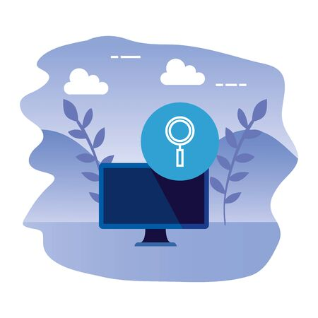 desktop computer device with magnifying glass vector illustration design