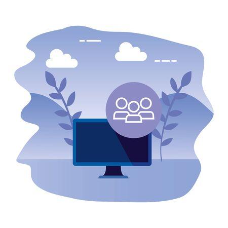 desktop computer device with teamwork vector illustration design
