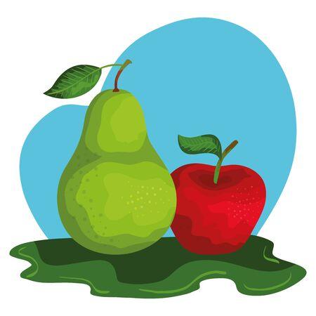 fresh pear and apple fruits nature vector illustration design  イラスト・ベクター素材