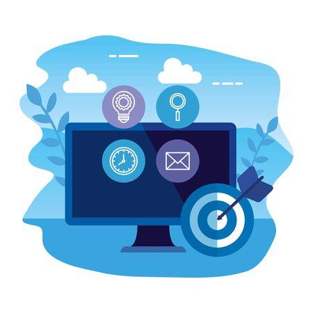 desktop computer with set icons and target vector illustration design