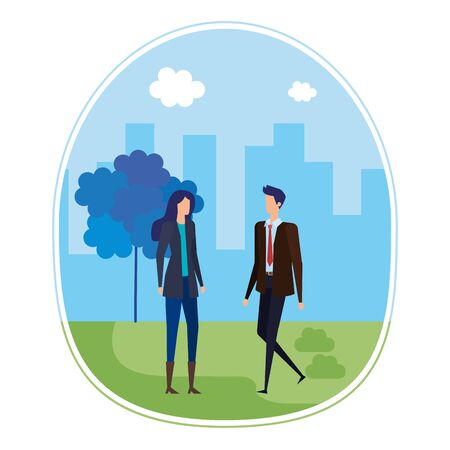 elegant young business couple on the city vector illustration design Stock Vector - 129327627