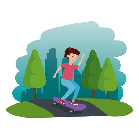 happy young girl in skateboard on the road vector illustration design