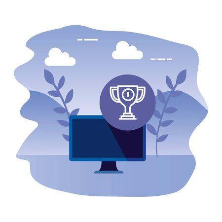 desktop computer device with trophy vector illustration design