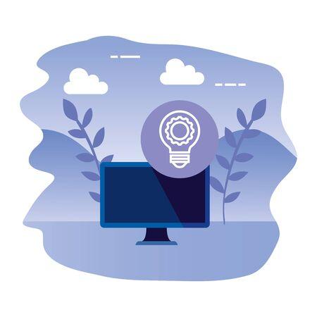 desktop computer device with bulb light vector illustration design