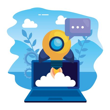 laptop computer with rocket bulb and speech bubble vector illustration design