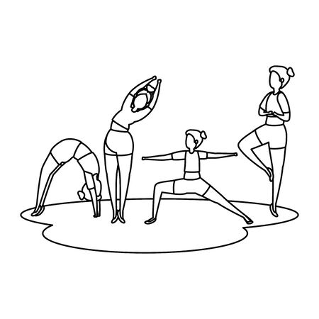 beauty girls group practicing pilates position vector illustration design