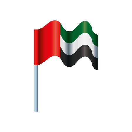 United Arab Emirates flag waving in pole vector illustration design