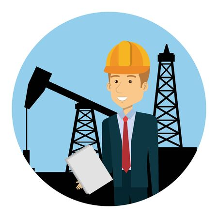 engineer with helmet in the refinery oil character vector illustration design