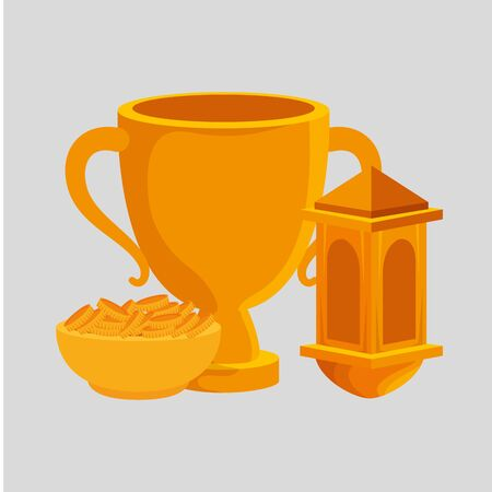 golden chalice cup with dish and coins vector illustration design Illustration