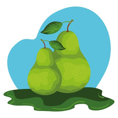 fresh pear fruit nature icon vector illustration design