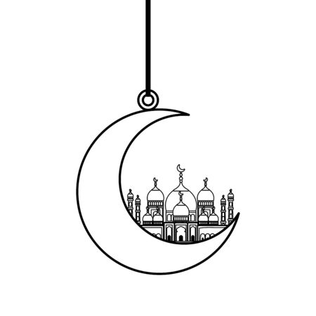 moon hanging with taj mahal mosque building vector illustration design