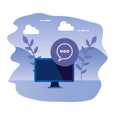 desktop computer device with speech bubble vector illustration