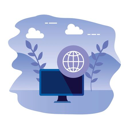 desktop computer device with sphere browser vector illustration design  イラスト・ベクター素材