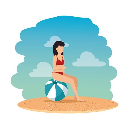 woman with swimsuit seated in balloon on the beach vector illustration design Çizim