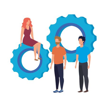 group of people with gears characters vector illustration design Illustration
