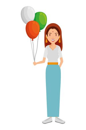 beautiful woman from india with balloons helium vector illustration design