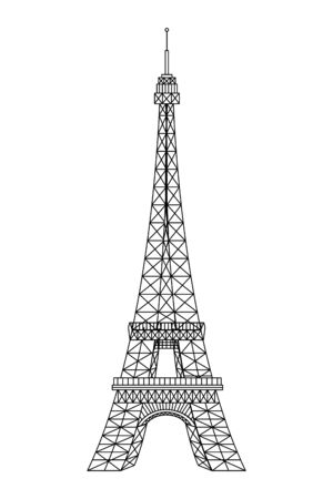 tower eiffel structure french icon vector illustration design