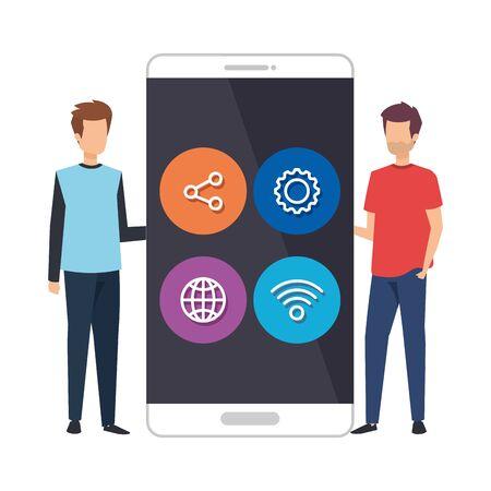 young men with smartphone and social media menu vector illustration design Ilustração