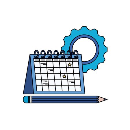 gear machine settings with calendar vector illustration design