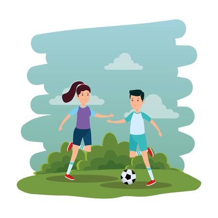 happy athletic couple practicing football soccer on the park vector illustration