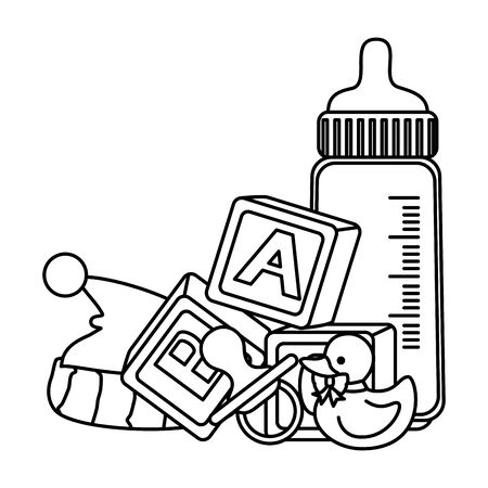 baby milk bottle with toys vector illustration design