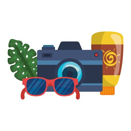solar blocker bottle with camera and sunglasses vector illustration design