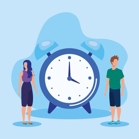 woman and man teamwork strategy business with clock over blue background, vector illustration
