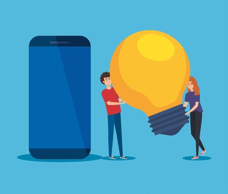 man and woman with bulb idea and smartphone technology to teamwork strategy vector illustration